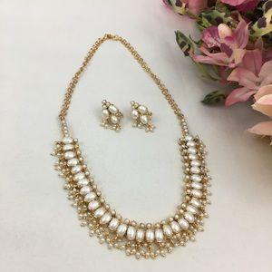 Vintage Pearl Earrings & Necklace